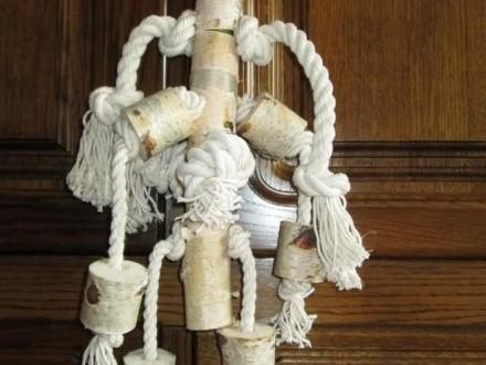 Duża zabawka dla papug 63 cm  brzoza i bawełniany sznur