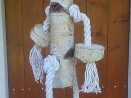 zabawka dla papugi  brzoza  sznur bawełniany ok52 cm