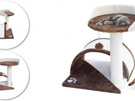 Drapak dla kota hamak + budka biało-brązowy