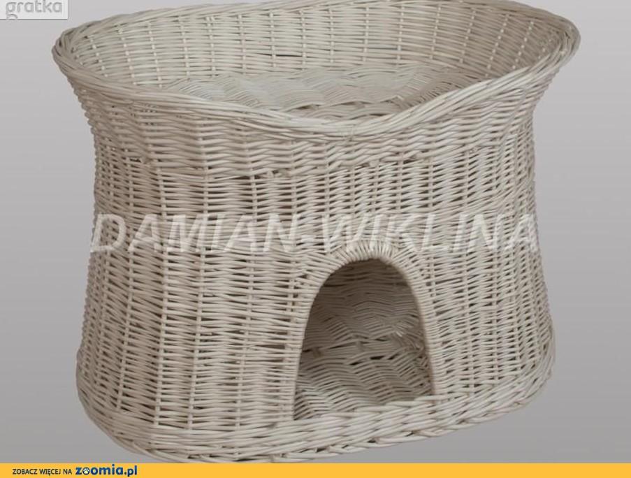 Buda z wikliny legowisko dla psa lub kota białe (owalne)