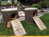Naturlany domek dla królika z pnia